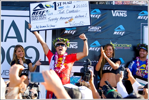 Pictured: Haleiwa local Joel Centeio celebrates winning the Reef Hawaiian Pro at his home break and taking the early lead in the Vans Triple Crown of Surfing standings Photo: ASP / CI/ Kirstin via Getty Images