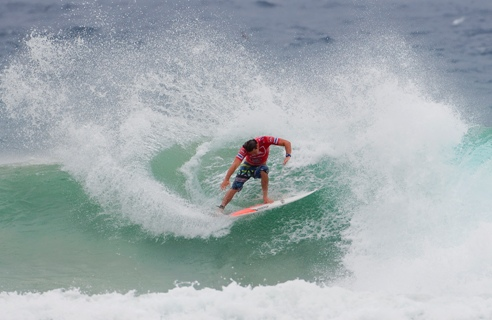 Pictured: Durbanite Jordy Smith placed second in his opening encounter in the Quiksilver Pro Gold Coast at Snapper Rocks in Australia and will have to contest a cutthroat Round 2 heat when competition resumes Credit: © ASP / CESTARI