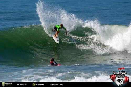 Pictured: Benji Brand (Kommetjie) was one of the standout performers in the epic conditions at Westbrook on Day 2 of the Billabong Junior Series Dolphin Coast on Monday. Photo: Billabong / Patterson