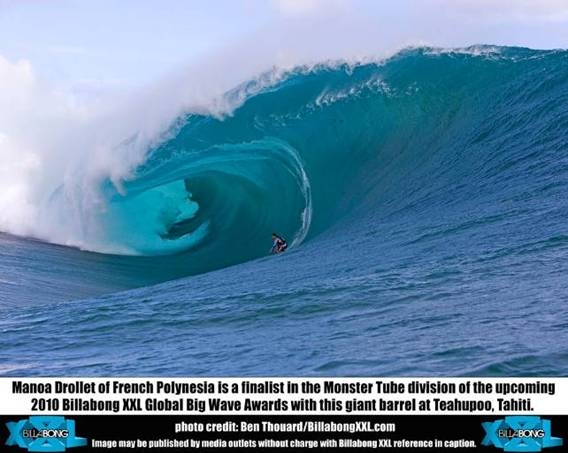 Manoa Drollet of French Polynesia in barrel at Teahupoo