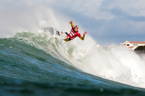 Pictured: Mick Fanning (Tweed Heads, NSW, AUS), current and 2X ASP World Champion advanced directly into Round 3 of the Billabong Pro Jeffreys Bay after defeating Sean Holmes (ZAF) and Roy Powers (HAW) with the highest score of the opening round today. Image Credit:  ASP/ Kelly Cestari
