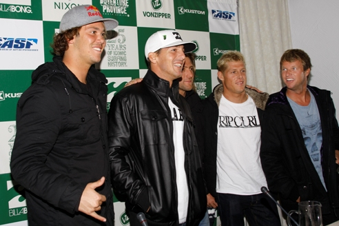 Pictured: The Billabong Pro J-Bay was officially launched at a media function on Wednesday evening where top contenders for the 2010 title answered questions about the iconic event. (FLR) Current World No. 2 Jordy Smith (Durban), 3 x ASP World Champion Andy Irons (HAW), wildcard Sean Holmes (Cape Town), reigning 2 x ASP World Champion Mick Fanning (AUS) and Current World No. 3 Taj Burrow (AUS). Photo: Karen / Billabong