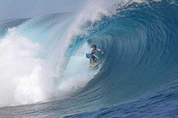 Pictured: Australian Anthony Walsh scored a perfect 10 point ride on Day 1 of the Air Tahiti Nui VonZipper Trials at Teahupo'o in Tahiti.
