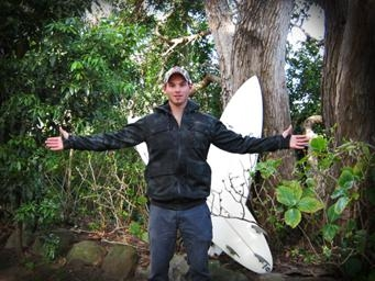 Pictured: Marc Lotz-de Beer displays the Billabong Exile Jacket that ultimately won him the surf adventure trip of a lifetime to Tasmania