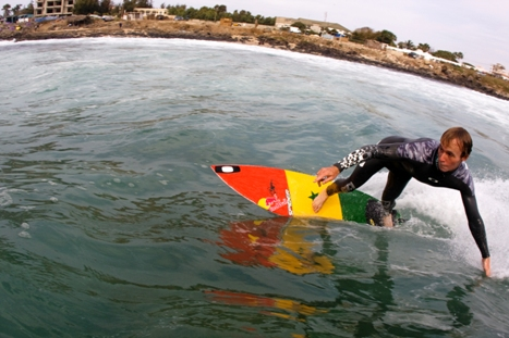Royden Bryson in action on one of his Spider Murphy shaped boards from Safari Surfboards. Photo: Greg Ewing