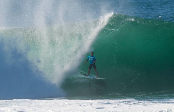 Dale Staples (St Francis Bay) stands tall inside a gaping Pipeline barrel in Hawaii on his way to 9th place in the Volcom Pipe Pro on Saturday   Photo: Bernie Baker