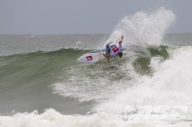 Travis Logie (Durban) in action on Day 1 of the Quiksilver Pro Gold Coast in Australia where the Durbanite posted the highest heat tally of the event to date  Photo: ASP / Scholtz