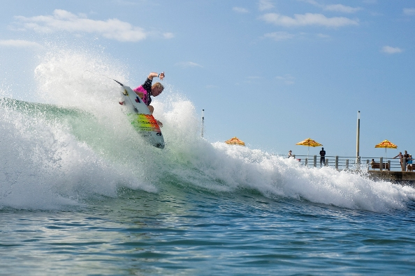 Dylan Lightfoot takes to the air on his way to victory in the U20 Boys final  Photo: Billabong / Kody McGregor