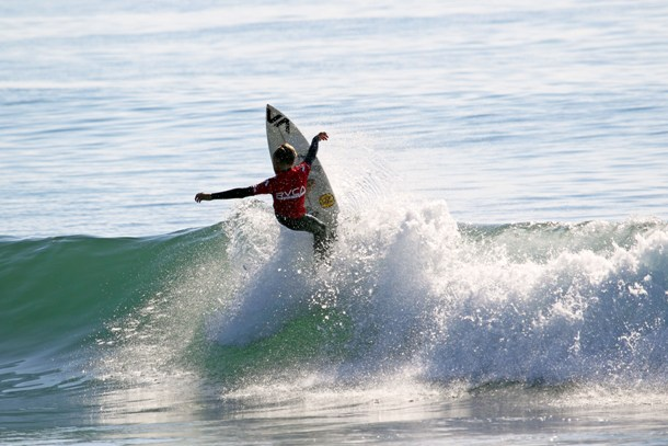 Ford van Jaarsveldt (Kommetjie) hitting the lip at J-Bay Point on Day 1 of the RVCA Junior Series  Photo: Luke Patterson