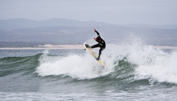 Sebastian Williams (Mexico) in action at J-Bay Point on Day 2 of the RVCA Junior Series  Photo: Richard Johnson