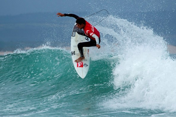 Michael February (Kommetjie) throws an air-reverse at J-Bay Point on his way to a 10 point ride, the U20 boys title, the highest heat score and the Fly Away award at the RVCA Junior Series event.  Photo: Luke Patterson