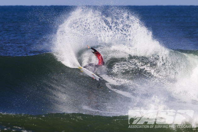 Jordy Smith (Durban) throws a sheet of spray as he carves a powerful cutback on his way the quarter-finals of the Rip Curl Pro Bells Beach on Sunday  Photo: ASP / Kirstin