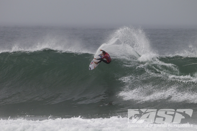 Jordy Smith (Durban) carves off the top of an overhead wave during his charge to third place in the Rip Curl Pro Bells Beach on Tuesday  Photo: ASP / Kirstin