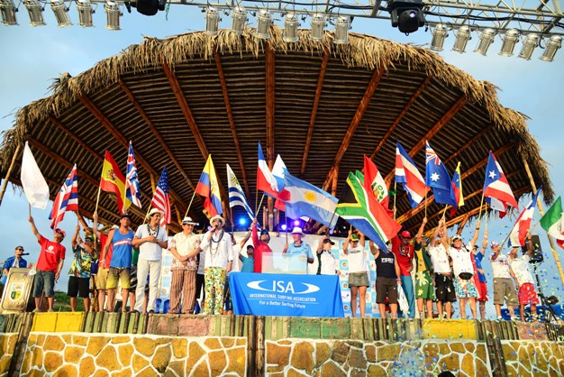 All the nations represented on the podium during the opening ceremony of the ISA World Masters Surfing Championships in Montanita, Ecuador on Saturday  Photo: ISA / Tweddle