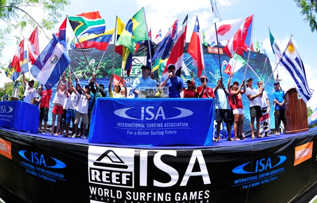 All 24 nations represented on the podium during the opening ceremony of the 2013 ISA World Surfing Games in Panama on Saturday  Photo: ISA / Rommel Gonzales