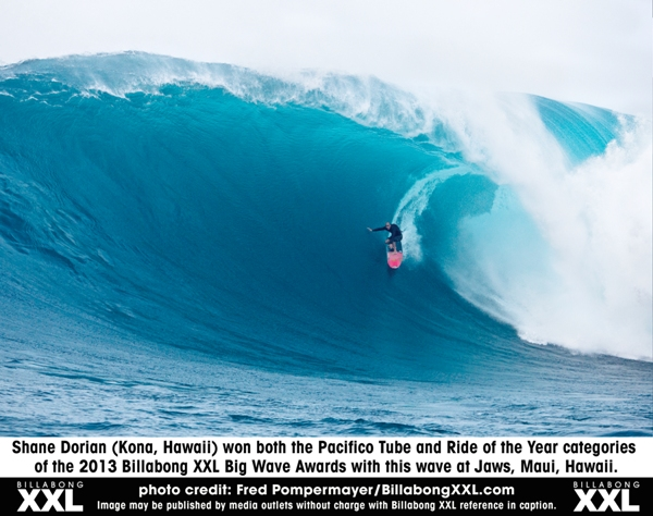 Shane Dorian (Kona, Hawaii) won the Pacifico Tube and Ride of the Year titles.
