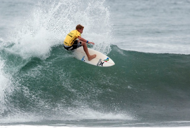 Jordy Maree in action on Day 2 of the DAKINE ISA World Junior Surfing Championships in Nicaragua on Monday where he finished second in his U16 Boys qualifying Round 2 heat  Photo: ISA / Rommel Gonzales