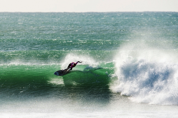 Kai Woolf (EP), 11, won the Hurley Surfer of the Contest award, the Oakley Highest Heat Score and the SA U13 Girls title at the Hurley SA Junior Champs which ended in great waves at Jeffreys Bay on Sunday  Photo: Kolesky / Nikon / Hurley
