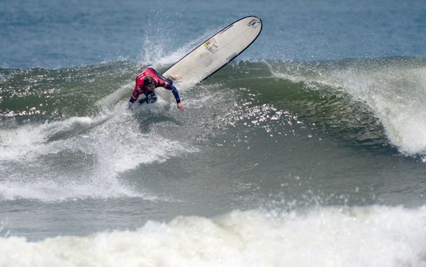 Justin Bing (Noordhoek) shows the form that saw him eliminate reigning ISA World Champion Toni Silvagni (USA) from the 2013 ISA World Longboard Surfing Championships at Huanchaco in Peru on Thursday  Photo: ISA / Tweddle