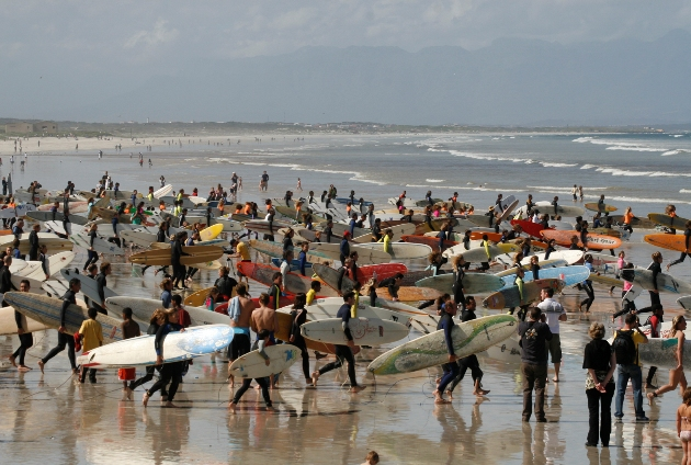 Hundreds of surfers are expected to head out in an attempt to break the Guinness World Record for the 'most surfers riding the same wave' at the BOS Earthwave Beach Festival at Muizenberg on Sunday 20 October  Photo: Clive Maasch