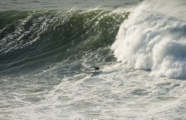 Grant Baker (Durban, South Africa) rides one of his event winning waves at the Arnette Punta Galea Challenge in Basque Country, Spain on Sunday  Credit: Steve Robertson