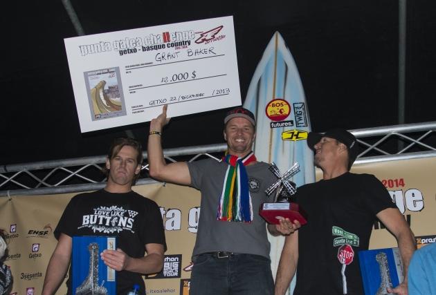 Baker (centre) celebrates  with runner-up Nic Lamb (left) and Ken Collins, both from Santa Cruz California  Photo: Steve Robertson