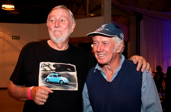 Cape Town's Dave Meneses and John Grendon were amongst the first group of 12 South Africa surfing pioneers who were inducted into the Surfers' Circle Walk of Fame at the Big Jol launch function in Muizenberg on Saturday evening  Photo: Surfers' Circle / Pierre Marqua