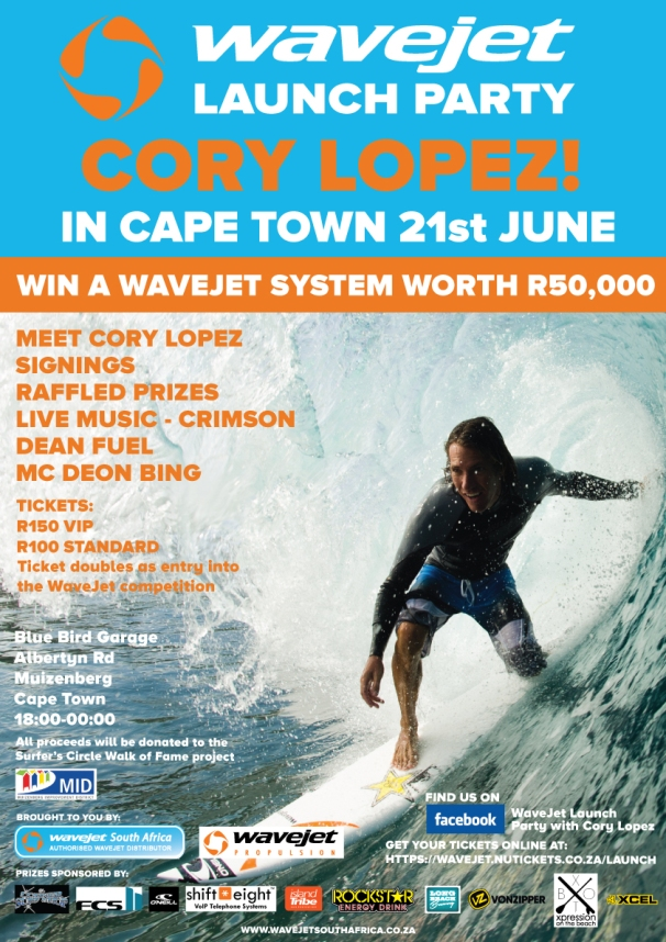 Meet Cory Lopez and win a R50 000 WaveJet Surfboard in Cape Town in June