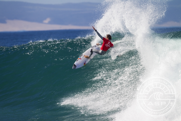 Jordy Smith (Durban, ZAF) carves off the lip of a Jeffreys Bay wave on Day 1 of the J-Bay Open where he posted the highest heat total of the year  Credit: ASP / Kirstin