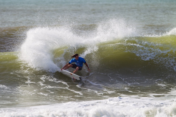 Jordy Smith (Durban) in action during the Moche Rip Curl Pro where he finished runner-up to Mick Fanning (AUS) Image: ASP / Kirstin