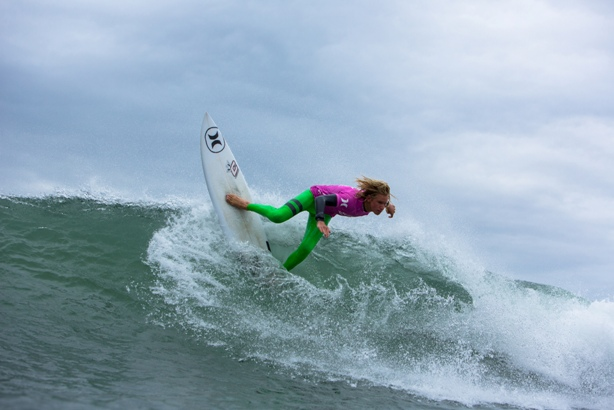 Jordy Maree (WP) in action at Jeffreys Bay on the opening day of the 2014 Hurley SA Junior Champs Photo: Alan van Gysen