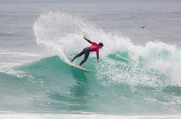 David Brand advanced through two rounds of Repercharge heats on Day 4 of the Claro ISA 50th Anniversary World Surfing Games at Punta Rocas in Peru on Tuesday  Photo: ISA / Rommel Gonzales