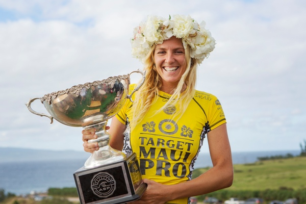 Stephanie Gilmore (AUS) celebrates her sixth ASP Women's World Surfing Title in Hawaii yesterday (Thursday)  Image: ASP / Kirstin