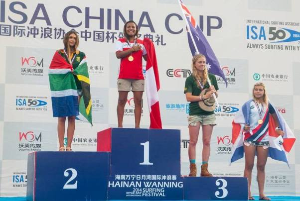 Tanika Hoffman (Hout Bay) on the podium after clinching the Silver medal for the Women's division at the ISA China Cup on Monday  Photo: ISA / Rommel Gonzales