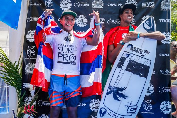 Joshua Moniz (Left) and Michael February on the podium and the end of the Martinique Surf Pro.  Image: (c) WSL / Poullenot