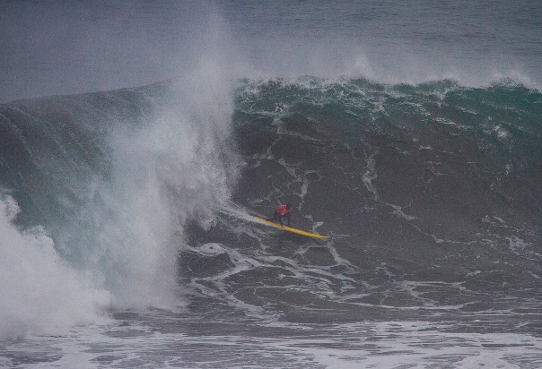 Grant 'Twiggy' Baker (Durban) in action during his semi-final victory in the Quiksilver Ceremonial Big Wave Invitational in Chile on Friday  Photo: WSL / Azocar