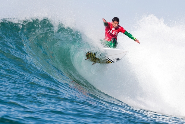 Adriano de Souza (BRA), the top seed for the J-Bay Open, in action at Supertubes in 2014  Image: WSL / Cestari