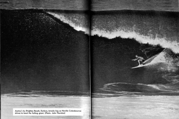 Neville Calenbourne rides a giant wave at Ansteys Beach in 1966 Photo: John Thornton