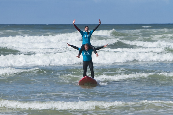 Gary van Rooyen and Caitlin Brouckaert were worthy winners of the tandem surfing title at the Earthwave Beach Festival on Sunday Photo: Earthwave / StephenC Photography