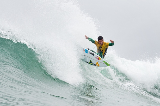 Adriano de Souza, seen here during the J-Bay Open in July, will wear the Jeep Rankings Leader's yellow jersey at the Hurley Pro which starts at Trestles in California today (Wednesday) Image: WSL / Cestari