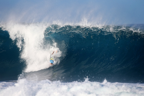 Bede Durbidge (AUS) falls on the take-off on a huge wave at Pipeline Photo: WSL / Masurel