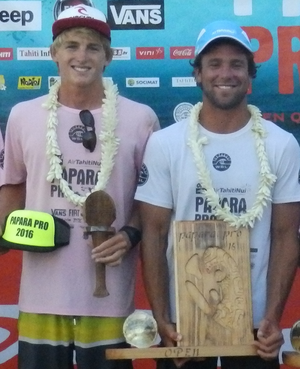 Matthew McGillivray (Jeffreys Bay, left) on the podium after finishing runner-up to Dimitri Ouvre (BLM) in the Papara Pro in Tahiti on Thursday  Image: WSL / Morienne