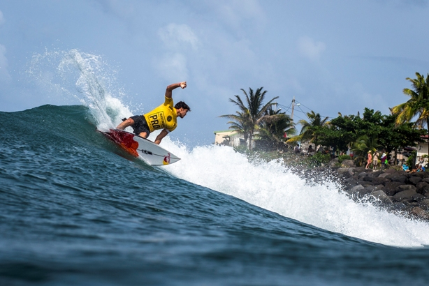 Slade Prestwich (Durban) on his way to fifth place in the Martinique Surf Pro on Sunday  Image: WSL / Poullenot