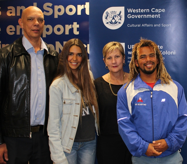 (From LtR) Mark Hoffman (President of Surfing South Africa), Tanika Hoffman (SA's highest ranked surfer on the WSL Women's Qualifying Series), Minister Anroux Marais, Craig Johnson (Finalist – 2015 SA Surfing Championships) Photo: Well / Accelerate
