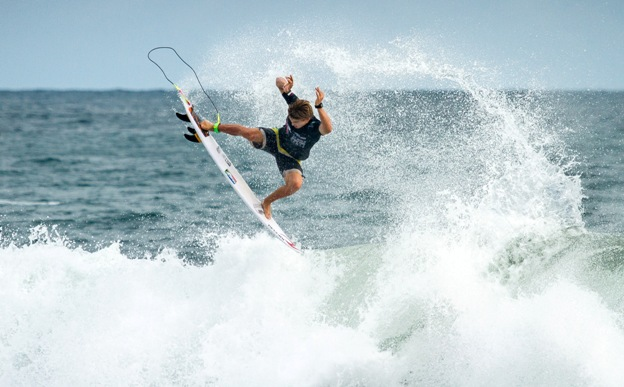 Matt McGillivray (Jeffreys Bay) takes to the air on his way to second place in his opening heat at the INS ISA World Surfing Games at Jaco Beach in Costa Rica on Sunday Photo: ISA / Jimenez