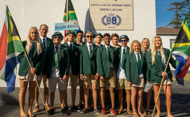The 2016 South Africa Junior Surfing Team in their traditional blazers and ties for the opening ceremonies of the VISSLA ISA World Junior Championships in the Azores on Saturday  Photo: ISA / Sean Evans