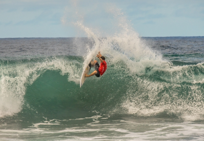 Bevan Willis (Salt Rock) in action on his way to equal 17th place in the U18 Boys division of the VISSLA ISA World Junior Championships in the Azores on Thursday Photo: ISA / Evans