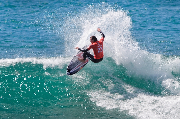 Jordy Smith carves off the top on his way to victory in the Hurley Pro in California on Wednesday  Photo: WSL / Rowland
