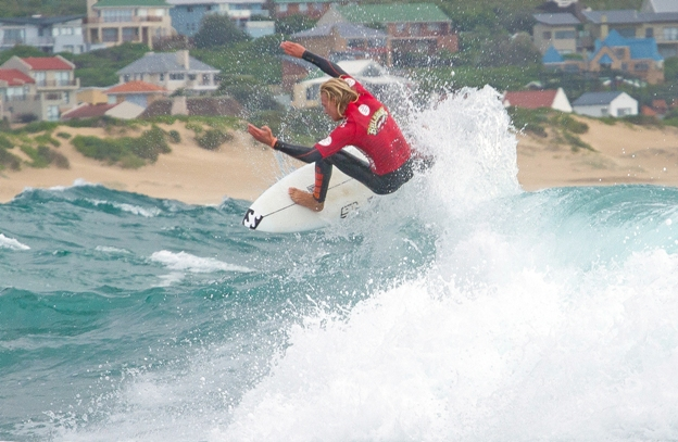 Adin Masencamp (Strand) takes to the air on his way to clinching the U18 boys' Billabong Junior Series title and the WSL Africa Junior crown event at Seal Point on SundayPhoto: Billabong / Thurtell