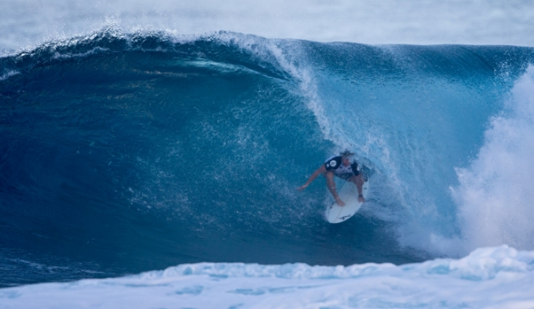 Pictured: Benji Brand squeezes out of a tube on his way to 17th place in the Volcom Pipe Pro Photo: WSL / Heff